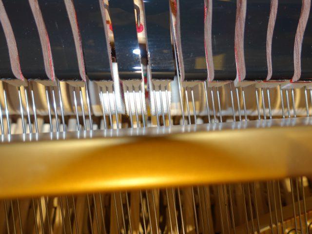 一つの鍵盤に張られた3本の弦